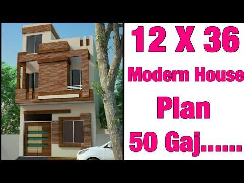 12.5'-x-36'-,modern-house-design-,-plan-map-50-gaj-plot-,-3d-view-elevation-vastu-anuaar-parking