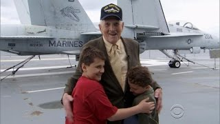 Twin boys surprised by their World War II idol