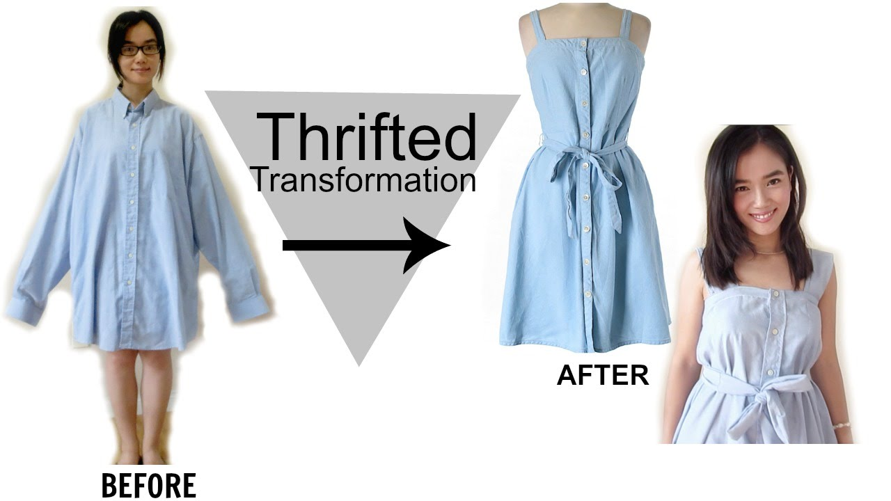 DIY:Men's Shirt into a Dress/Thrifted Transformation - YouTube