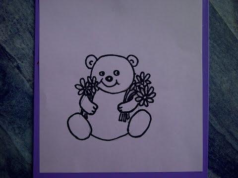 Teddybär  mit Blumen zeichnen. Kuschelbär malen.  Für Anfänger. How to draw Teddy bear