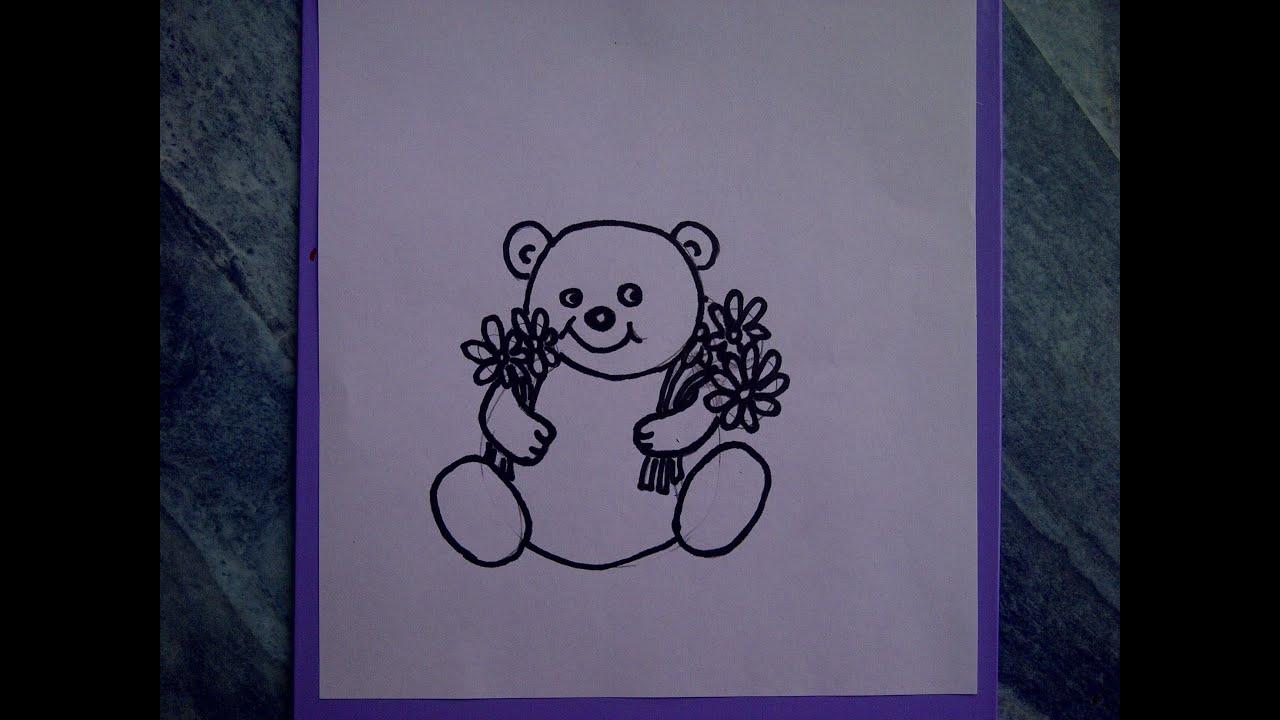 Teddybär mit Blumen zeichnen. Kuschelbär malen. Für Anfänger. How to ...