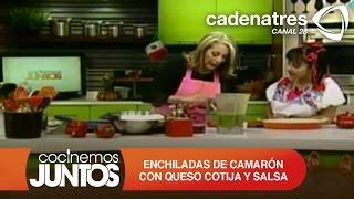 Enchiladas De CamarÓn Con Queso Cotija Y Salsa Verde