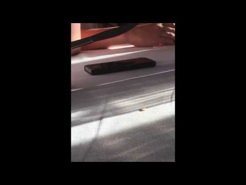 Kid trying to break his phone with a bidder knife