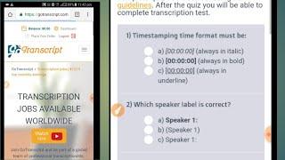 go transcript job exam QUIZ ANSWERS 100 work |Data Entry Transcriptio Quiz Answers thumbnail