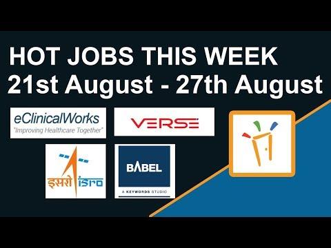 Freshersworld Hot Jobs Of The Week-(Aug 21st–Aug 27th)-Babel Media,ISRO,EClinicalWorks,Verse