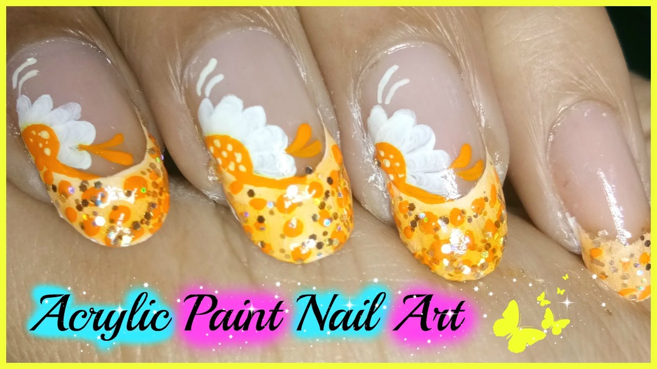 Acrylic Paint Nail Art Tutorial For Beginners - YouTube