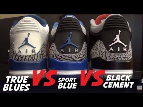 e70bb6111dce Air Jordan 3 True Blue VS Sport Blue VS Black Cement Retro Sneaker  Comparison