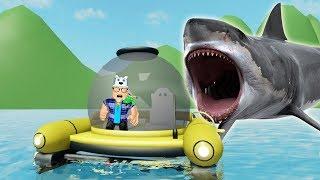 ROBLOX: FUGINDO DE SUBMARINO DO TUBARÃO GIGANTE!! (Sharkbite) - Joga Velhote