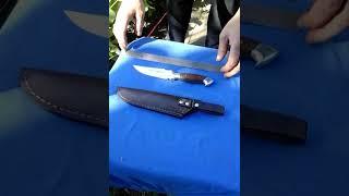 Обзор. Готовый нож от мастера. Метал х 12 мф. Ручка силумин, красное дерево. Без гриндера. Украина.