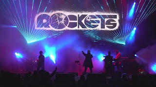 "Rockets - live lucca comics & games 2019 fabrice quagliotti keyboards, backing vocal vocoder john biancale lead rosaire riccobono ""ross"" bass g..."