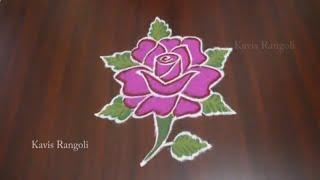 Rose Flower Rangoli with Dots | Simple Muggulu Designs