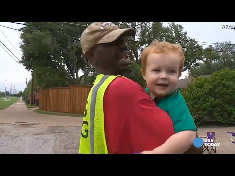 Beautiful - 2-year-old boy is best friends with the garbage man  |  bagz.co.uk