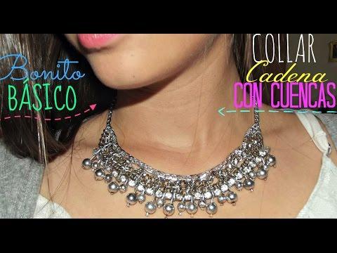33e33877757c Cómo hacer un collar de moda 2018 con cadenas y cuencas de cristal  Necklace  chain easy. YOUTUBE