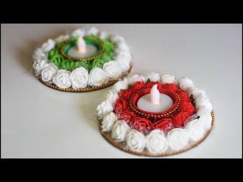 How To Make Diya Stand / Candle Holder from Old CD/DVD | DIY Diwali Decorations