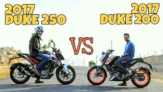 2017 KTM Duke 250 vs 2017 Duke 200|Drag race|Exhaust and look comparision