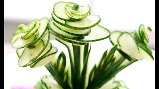 How To Make Cucumber Flowers - Vegetable Carving Garnish - Sushi Garnish - Food Art Decoration