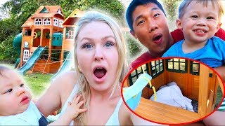 Found Someone Living In Our Backyard Playground! (Prank)