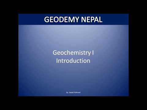 Geochemistry I - Introduction