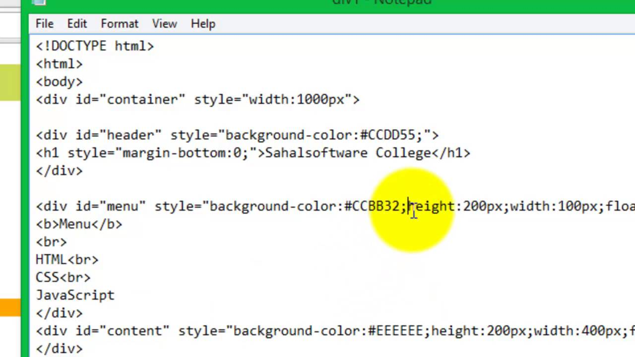 Div style background color javascript murderthestout - Div tag in html ...