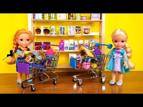 grocery-store-!-elsa-and-anna-toddlers-go-shopping---barbie-is-store-manager