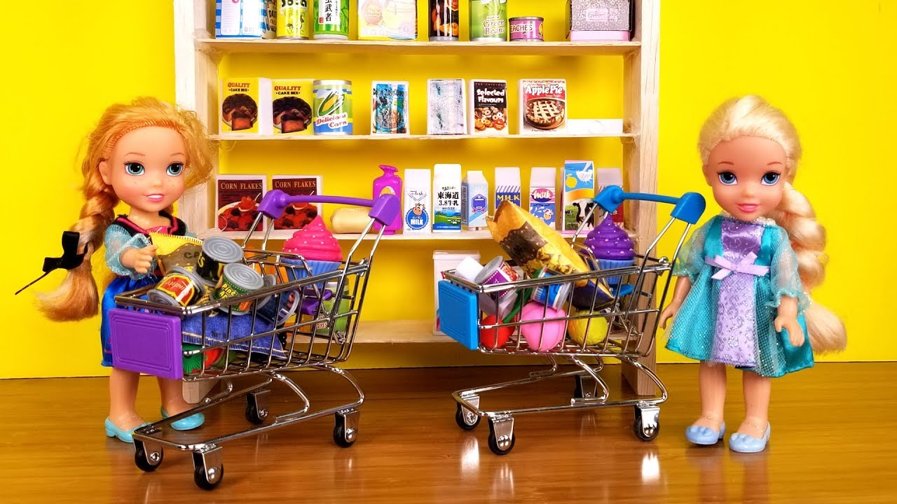 Grocery Store Elsa And Anna Toddlers Go Shopping