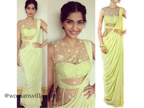 Fusion of Saree Gown From womansvilla - YouTube