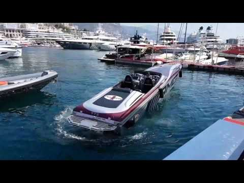 Mercedes AMG powerboat docking in Monaco harbour