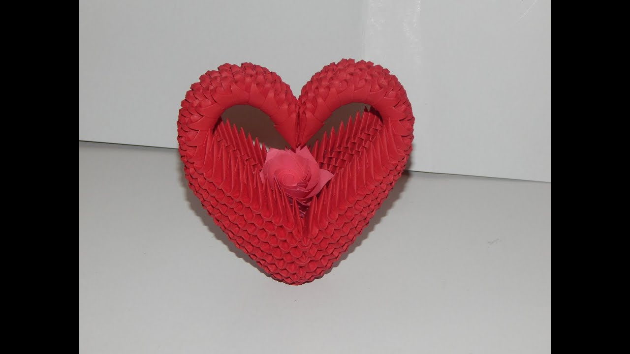 How to make 3D Origami Heart model2 part1 - YouTube - photo#30
