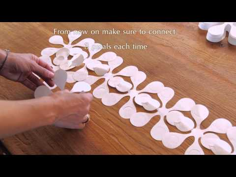 Floral paper window dressing