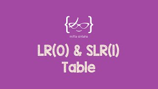 bottom up parsing lr 0 slr 1 parsing table