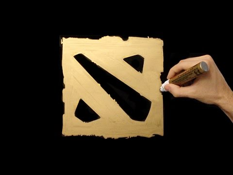 Dota 2 Logo Speed Drawing With Gold Marker (How To Draw)
