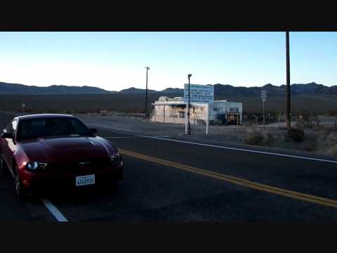 Area 51 - Ford Mustang stop in front of the line - Nevada Nuclear Test Site