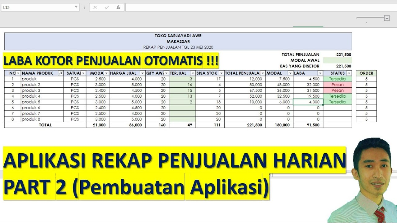 Contoh Laporan Penjualan Harian Toko Excel