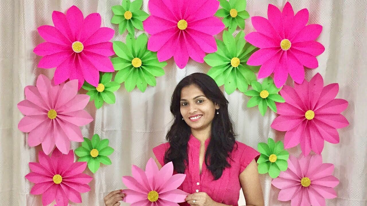 Very Easy Paper Flower Decoration At Home Decoration Ideas For Any Occasion At Home Youtube