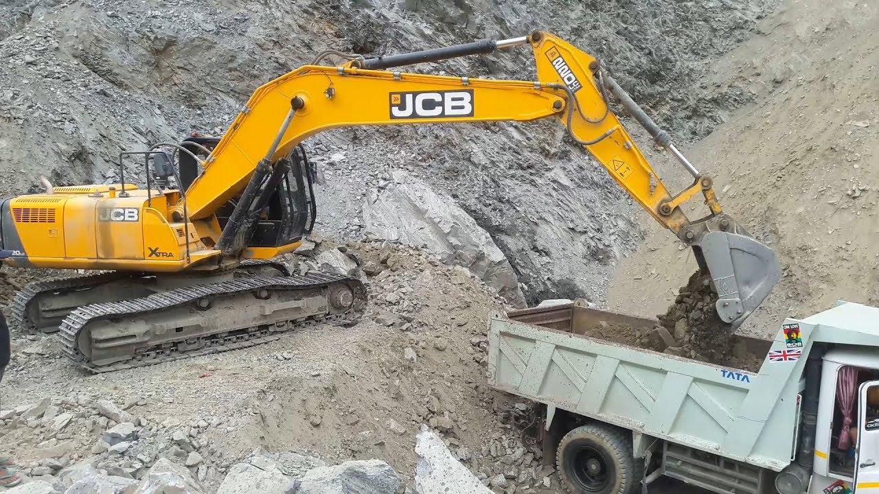 Jcb Excavator Loading Gravel In Dump Truck Jcb Excavator Video Youtube