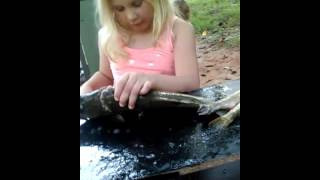 Girls first time cleaning fish