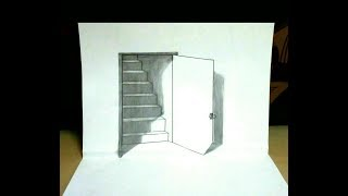 Trick art drawing the door illusion magic perspective with pencil - 3D Trick Art