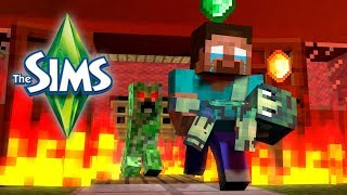 Monster School THE SIMS Challenge Minecraft Animation