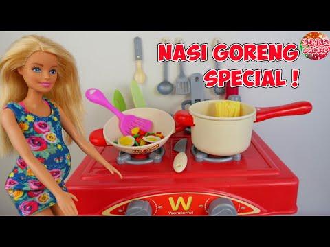 Barbie Hamil Masak Nasi Goreng Main Masak Masakan Mainan Anak Perempuan Youtube