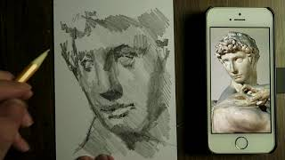 Drawing after a sculpture of Michelangelo - Graphite pencil - shades, tonal values