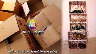 #Best Out of Waste #Lifestyle #DIY #Shoe Stand #CARDBOARD BOXES CRAFTS