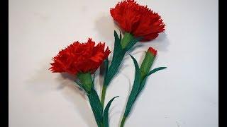 como hacer flores de papel - un clavel de papel super facil