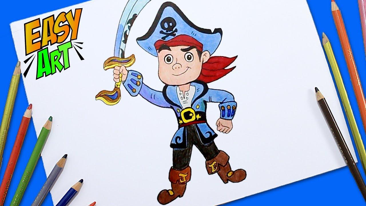 Como Dibujar Y Pintar A Jake Y Los Piratas Del País De Nunca Jamás