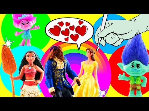 Moana, Beauty and The Beast Movie & Trolls Learn Colors Kinetic Sand Spelling Play-Doh Toy Surprises