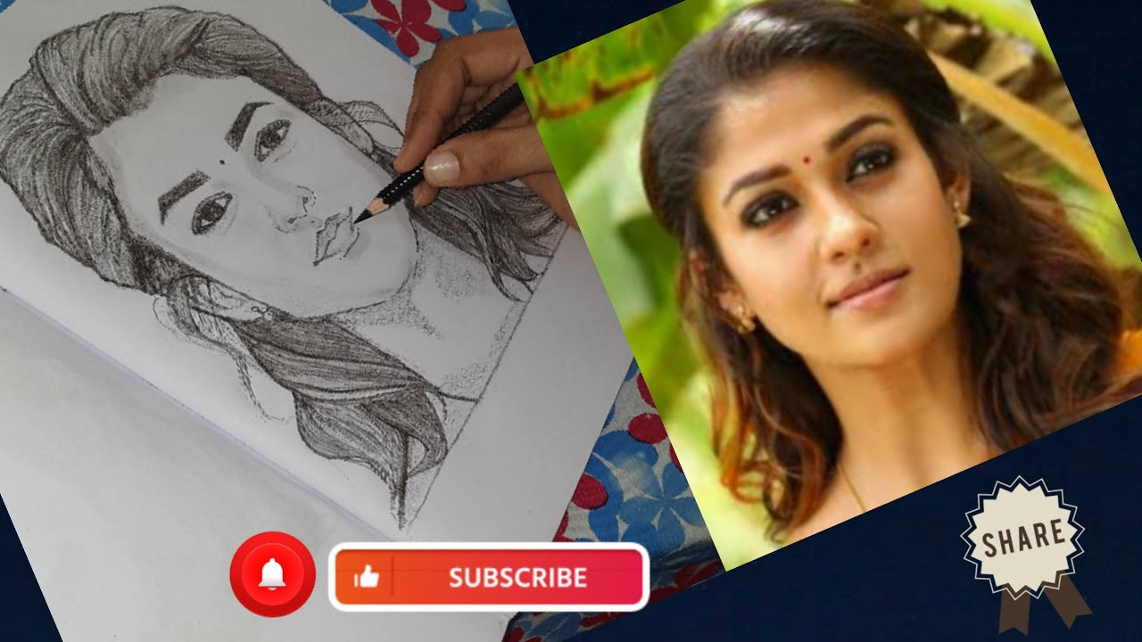 Nayanthara pencil drawing video #How to draw Nayanthara ...