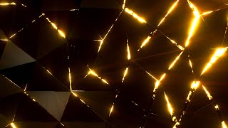 Triangular Geometric Bright Neon Gradient Looped Animation Background | Free Gold Version Footage