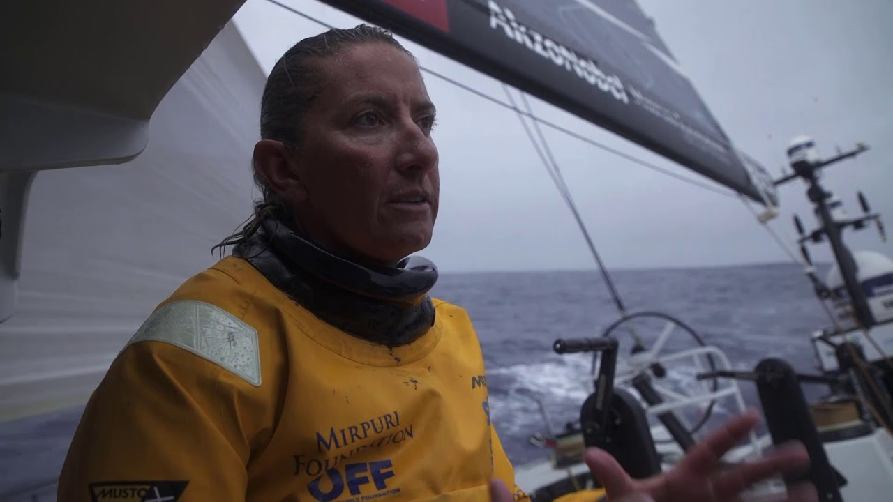 Rain dripping off the boom. Frederico yawning. Martin trimming. Dee: Just came out of 35 knots into the trough of no wind. Quite remarkable. Got the position report at the same time; unfortunately we didn't do too well. MAPFRE and Vestas are going better than us. Wind is starting to fill, but bizarrely from the wrong direction... Final 200 miles; never worked so hard.