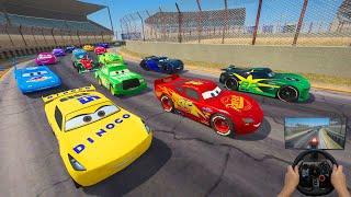 Race Cars Lightning McQueen VS Conrad Camber and Friends The King Cruz Ramirez Jackson Storm