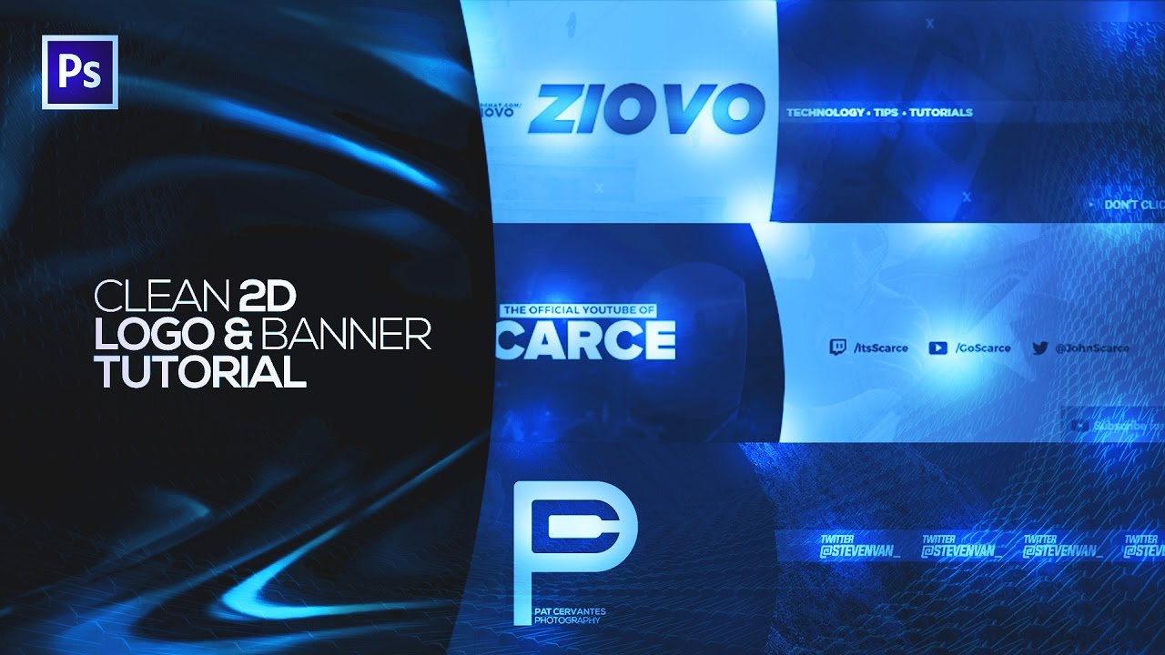 how to make a clean 2d logo  u0026 banner  channel art   2017