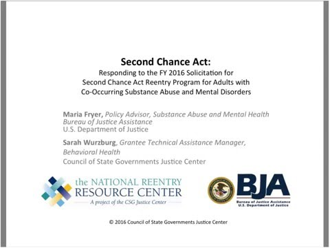 Responding to the 2016 Second Chance Act Co-Occurring Disorders Solicitation